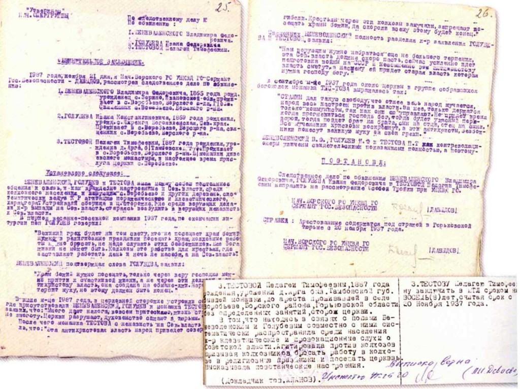 Документы следственного дела инокини Пелагеи (Тестовой). ЦАНО