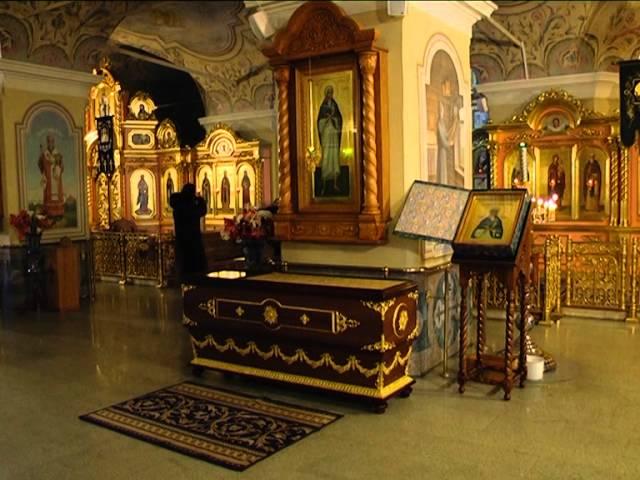 Рака с мощами блаженной Пелагии в Казанской церкви Дивеевского монастыря