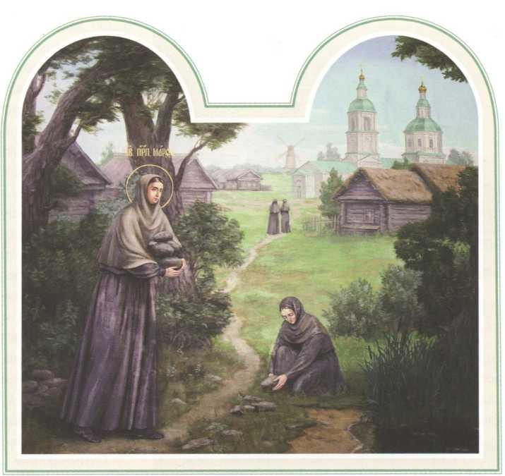 Прп. Марфа носит камни для строительства храма Рождества Христова. Настенная роспись Казанской церкви Дивеевской обители