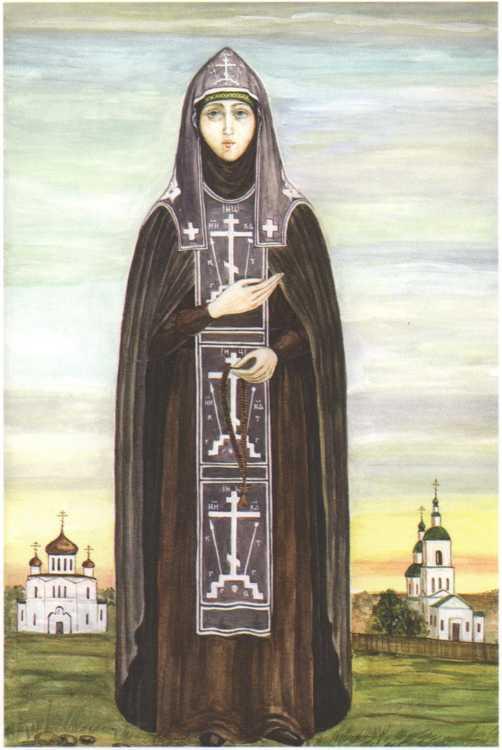Схимонахиня Марфа (Милюкова). Акварель, работа дивеевских сестер, 2000 г.